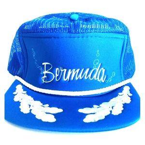 Vintage Bermuda Blue Snap Back Hat Nautical Sailor